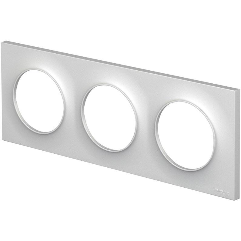 Plaque Triple Odace Schneider Electric Aluminium