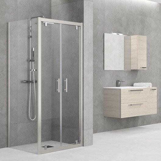 Porte de douche battante sensea elyt verre de s curit - Verre sur mesure leroy merlin ...