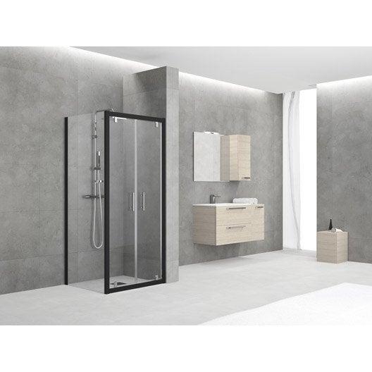 porte de douche battante 84 90 cm profil noir elyt leroy merlin. Black Bedroom Furniture Sets. Home Design Ideas