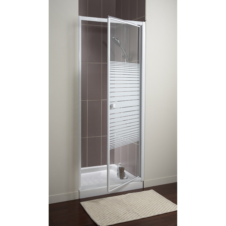Porte de douche pivotante 80 cm, sérigraphié, Primo | Leroy Merlin