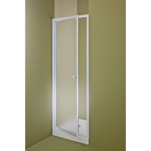 Porte de douche pivotante 78 81 cm profil blanc primo for Roulette de porte de douche leroy merlin