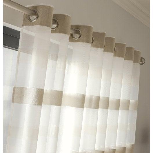 voilage tamisant edimbourg ivoire x cm leroy merlin. Black Bedroom Furniture Sets. Home Design Ideas