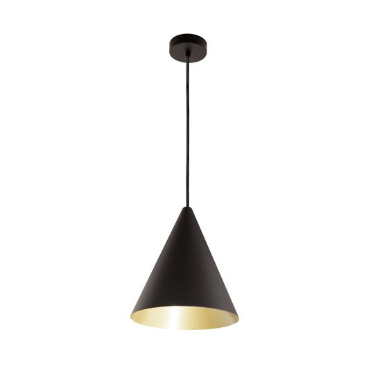 Suspension design rubio m tal noir or 1 x 60 w eglo for Suspension luminaire noir et or