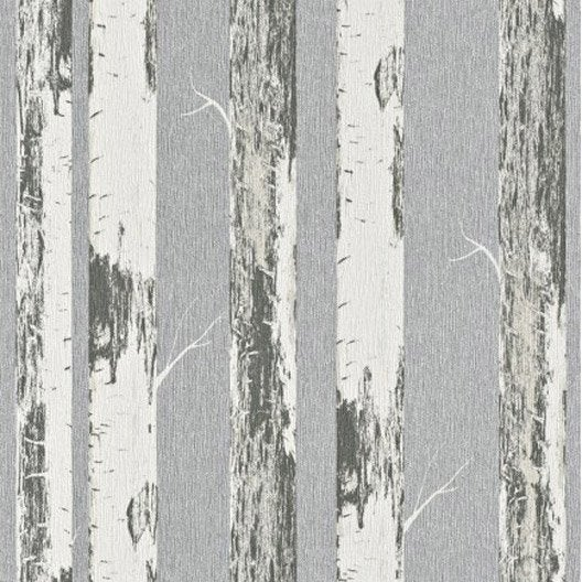 papier peint intiss bouleau gris leroy merlin. Black Bedroom Furniture Sets. Home Design Ideas