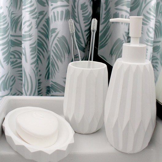 rideau de douche en textile vert x cm palm sensea leroy merlin. Black Bedroom Furniture Sets. Home Design Ideas