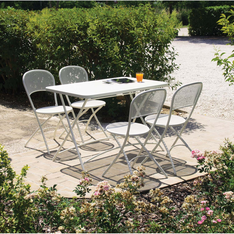 Salon de jardin Voila acier blanc, 4 personnes | Leroy Merlin