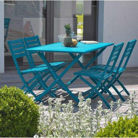 salon de jardin marius bleu 4 personnes leroy merlin. Black Bedroom Furniture Sets. Home Design Ideas
