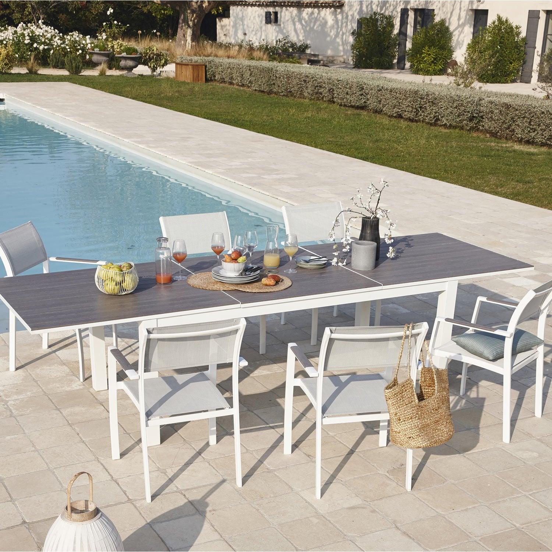 salon de jardin port torres aluminium gris 6 personnes. Black Bedroom Furniture Sets. Home Design Ideas