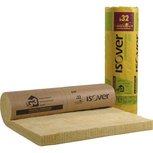 Panneau roulé en laine de verre, GR 32 Kraft ISOVER 2.7x1.2m, Ep.100mm, r=3.15