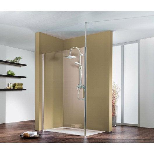 Paroi de douche à l'italienne Entra support plafond, profilé chromé, l.90 cm