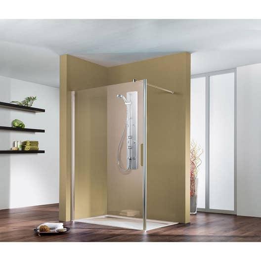 paroi de douche l 39 italienne cm verre transparent 6 mm entra support mur leroy merlin