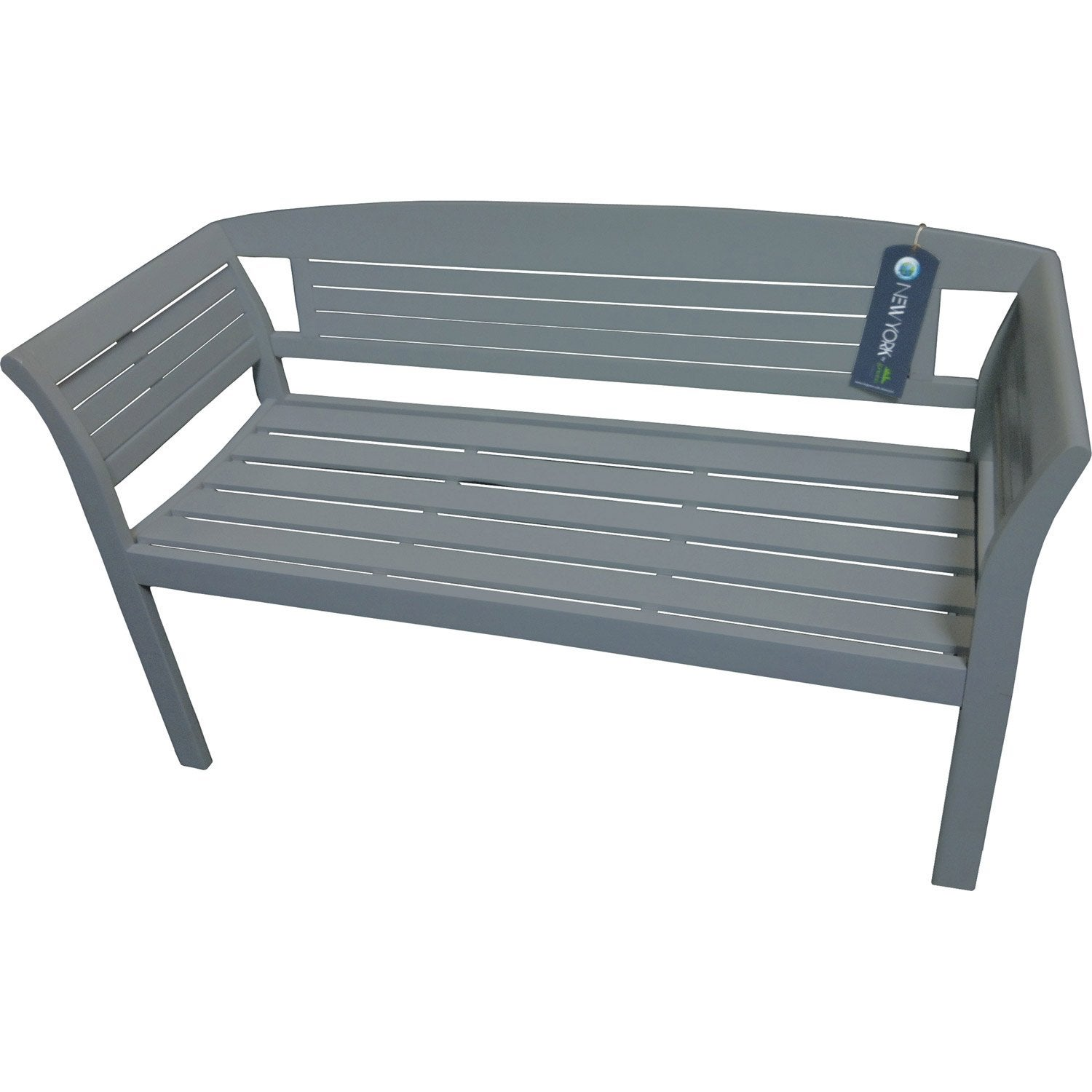 Banc 2 places de jardin en bois New-york gris | Leroy Merlin
