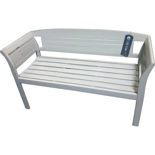 Banc 2 places de jardin en bois new york muscade leroy for Banc de jardin leroy merlin