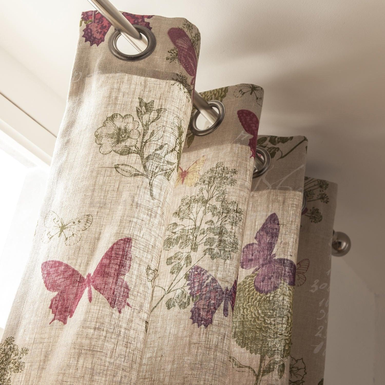 Rideau tamisant, Butterfly, naturel, l.135 x H.250 cm | Leroy Merlin