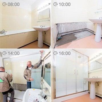 Pose et installation domicile leroy merlin - Remplacement d une baignoire par une douche ...
