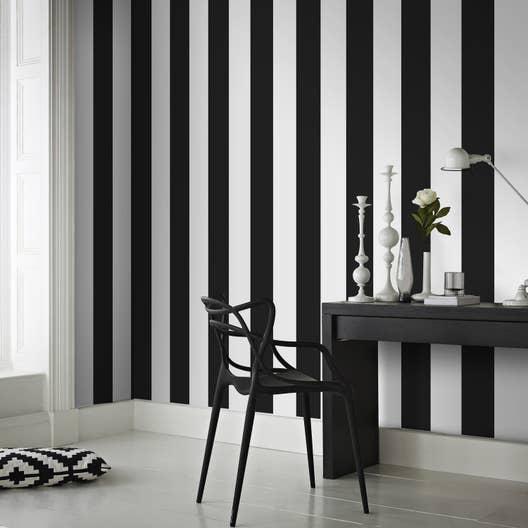 papier peint intiss rayures noir leroy merlin. Black Bedroom Furniture Sets. Home Design Ideas