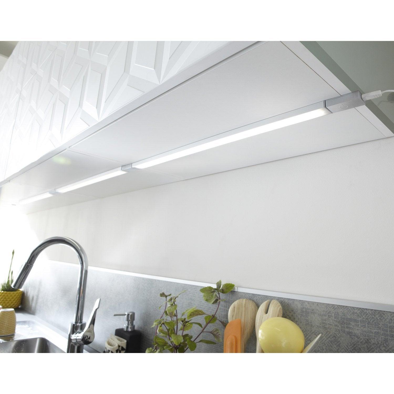 Eclairage Sous Meuble Cuisine Sans Interrupteur réglette à fixer plate led intégrée 35 cm rio inspire 3,5 w gris