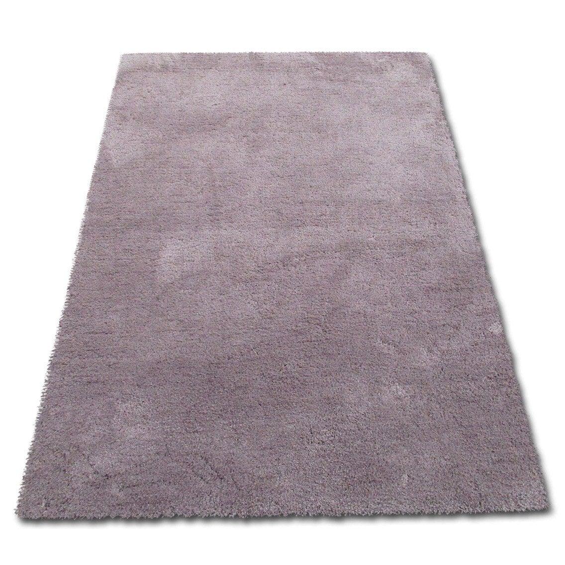 tapis taupe shaggy l100 x l150 cm diam15 - Tapis Taupe