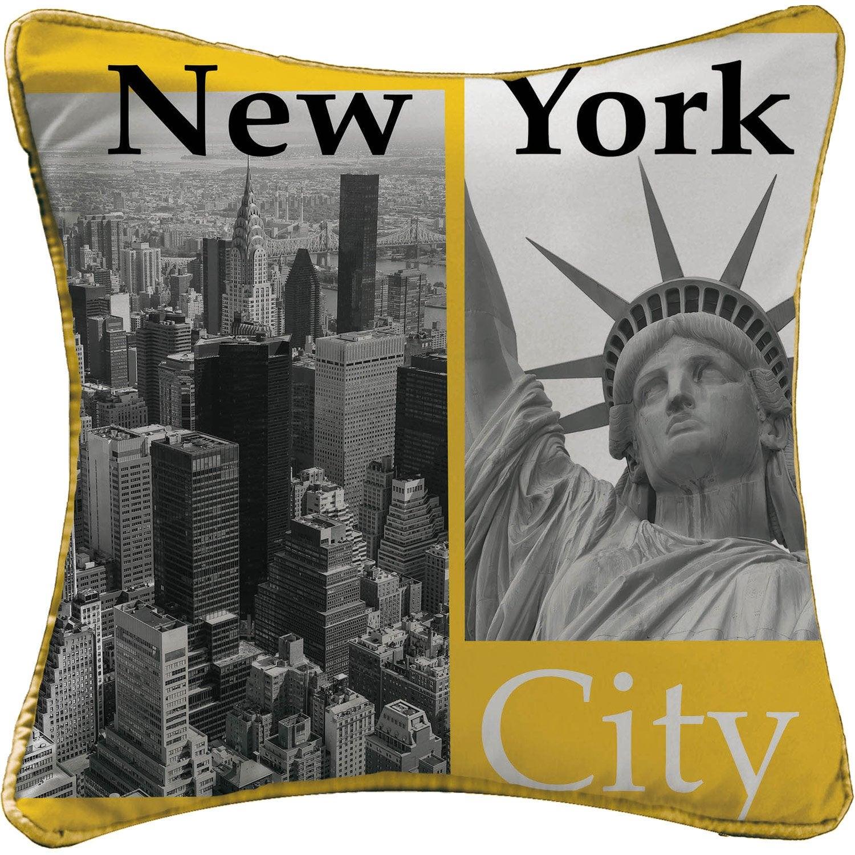 Coussin New york, jaune l.40 x H.40 cm