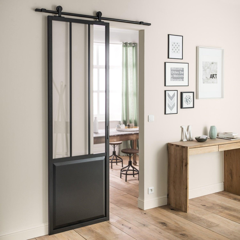 Barre Pour Porte Coulissante porte coulissante atelier vitrée atelier noir, h.220 x l.73 cm