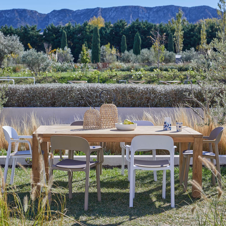 Salon de jardin Jambi bois naturel, 6 personnes | Leroy Merlin