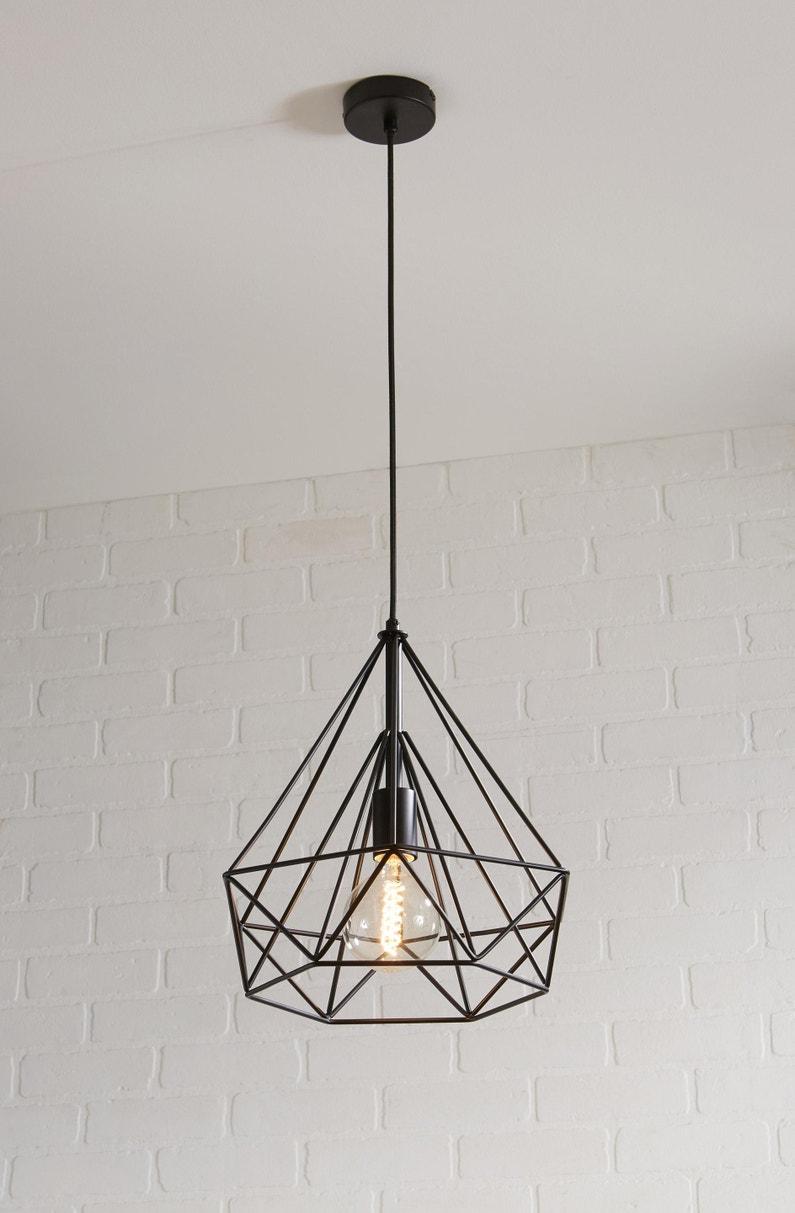 Suspension e27 design byron métal noir 1 x 60 w inspire