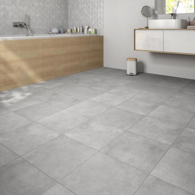 Carrelage sol et mur forte effet béton gris moyen l.45 x L.45 cm ...