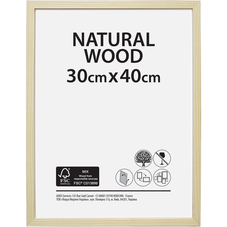 Cadre Bois brut, l.30 x H.40 cm, bois naturel
