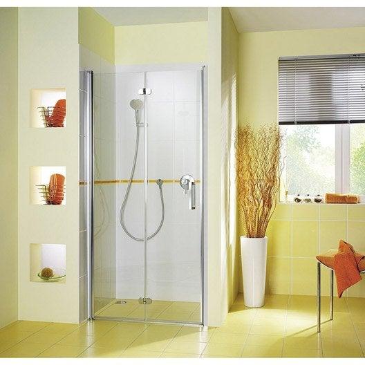 Porte de douche pivot-pliant 88/92 cm profilé chromé, Entra gauche
