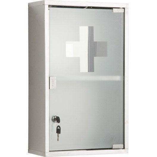 armoire pharmacie cm imitation m tal genoa leroy merlin. Black Bedroom Furniture Sets. Home Design Ideas