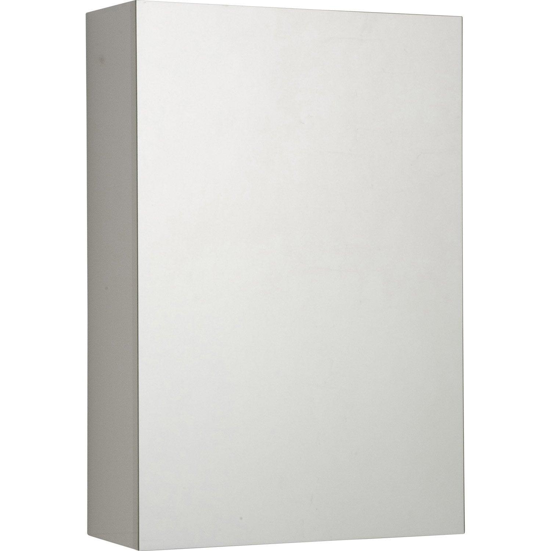 Armoire A Glace Leroy Merlin armoire de toilette l.40 cm, blanc, porte miroir, modulo