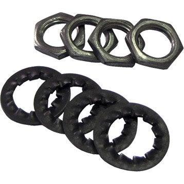 Lots de 4 écrous + 4 rondelles TIBELEC, métal, noir et gris