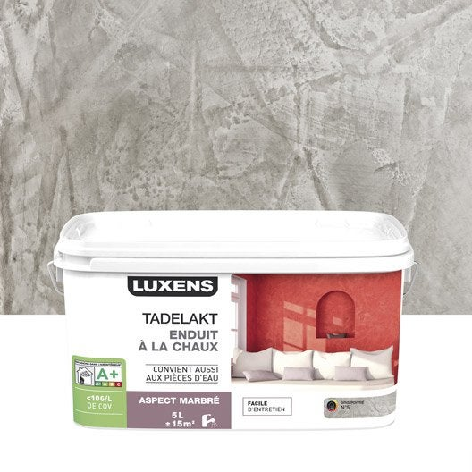 Enduit d coratif tadelakt luxens gris poivr 5 5 l - Enduit decoratif leroy merlin ...