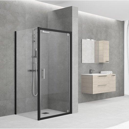 porte de douche pivotante 96 102 cm profil noir elyt leroy merlin. Black Bedroom Furniture Sets. Home Design Ideas