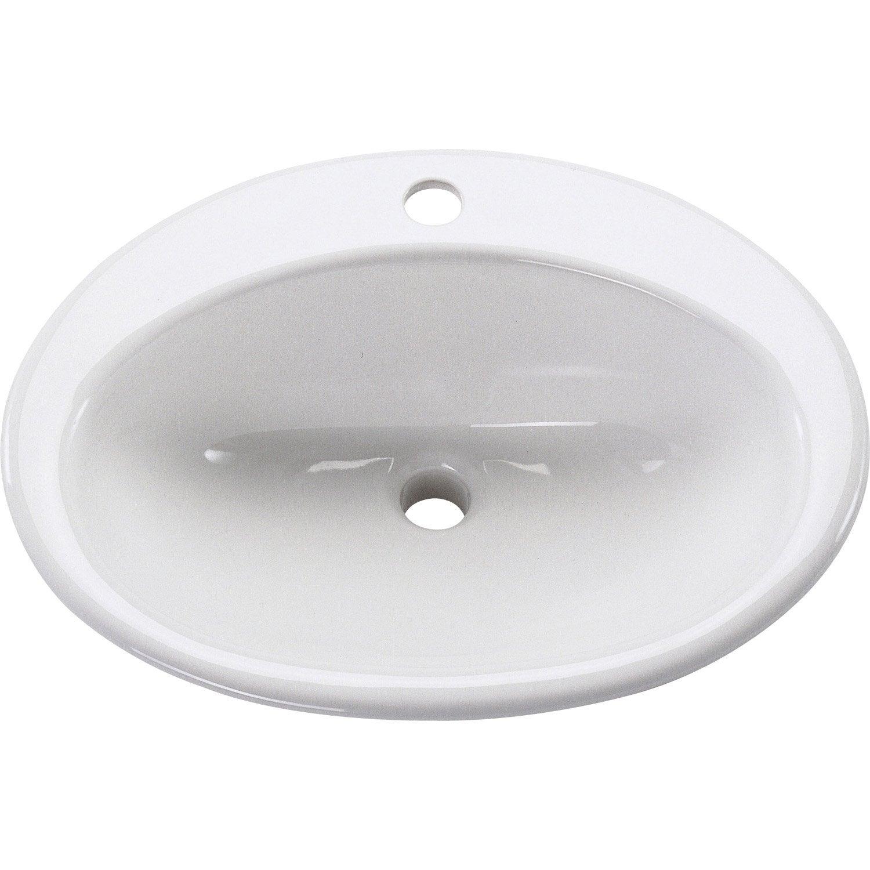 Vasque à encastrer céramique l.54 x P.44 cm blanc Nerea | Leroy Merlin