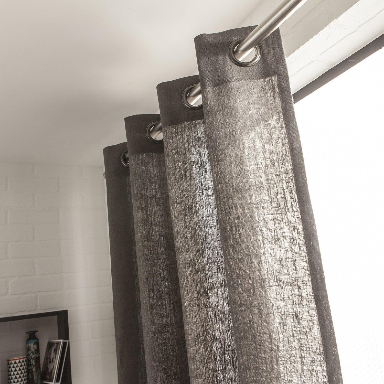 rideau tamisant toile ardoise x cm leroy. Black Bedroom Furniture Sets. Home Design Ideas