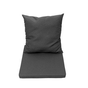 Coussin d'assise et dossier de chaise ou de fauteuil gris zingué NATERIAL