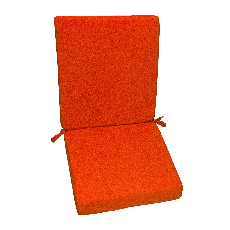 Coussin d 39 assise de chaise ou de fauteuil orange lola 89 x 40 leroy merlin - Coussin de chaise orange ...