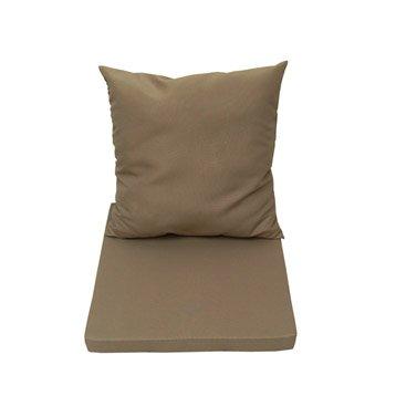 Coussin d'assise et dossier de chaise ou de fauteuil gris doré NATERIAL