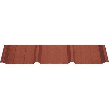 Plaque nervuré acier galvanisé rouge ral 8012 JORIS IDE l.1.05 x L.3 m