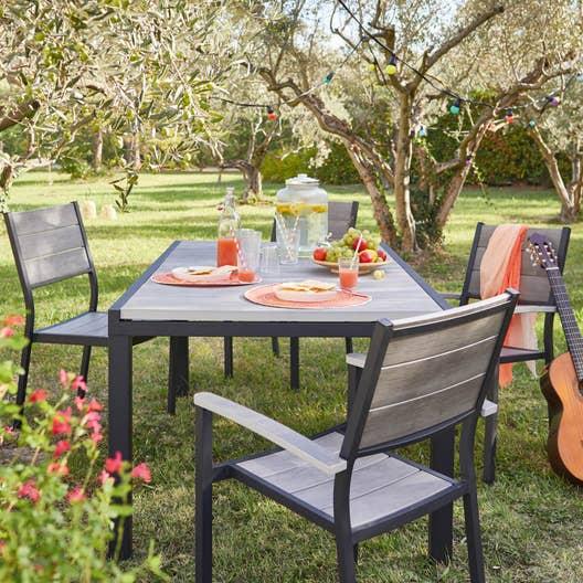 salon de jardin salou aluminium gris 10 personnes leroy merlin. Black Bedroom Furniture Sets. Home Design Ideas