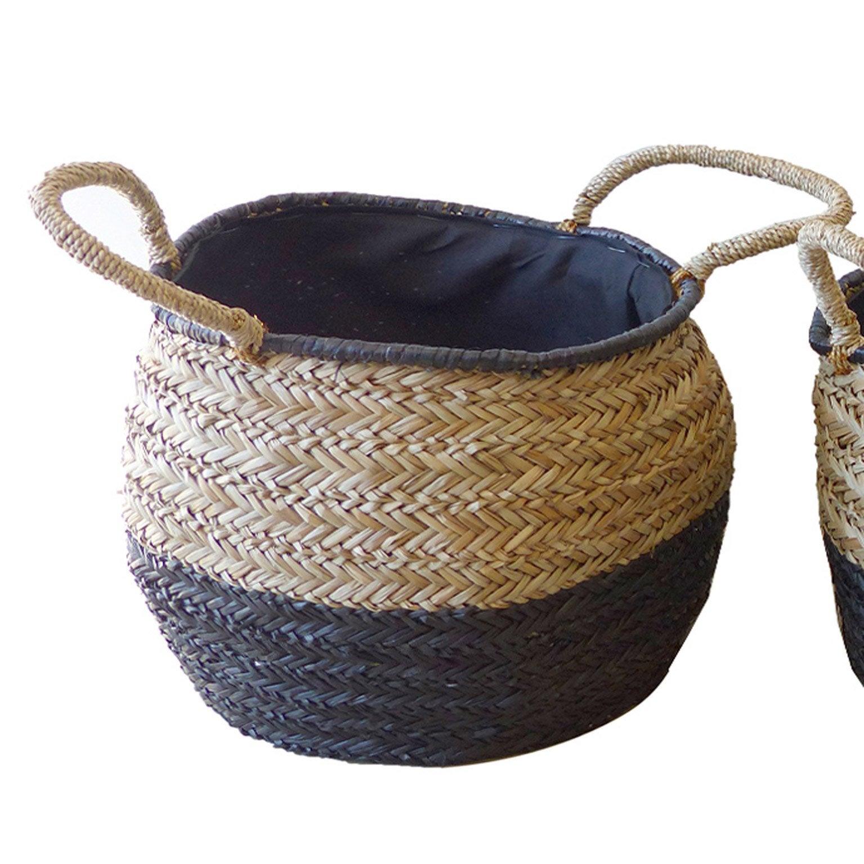 Panier fibre naturelle noir H.30 x l.32 x P.32 cm