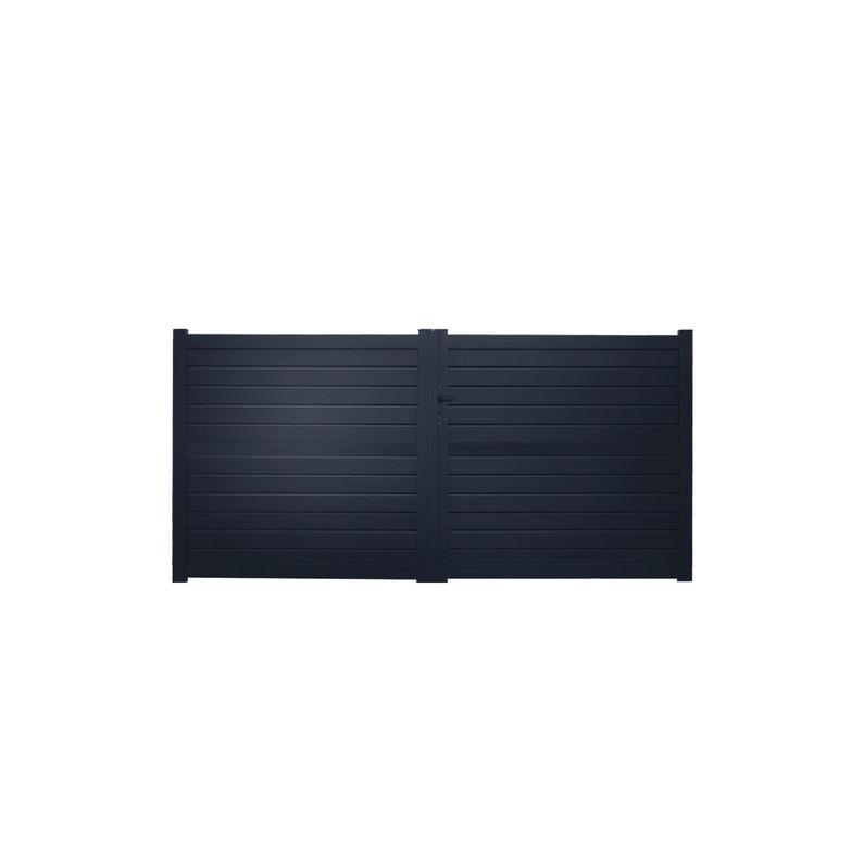 Portail Battant Aluminium Zef Gris Zingué Naterial L300x H157 Cm