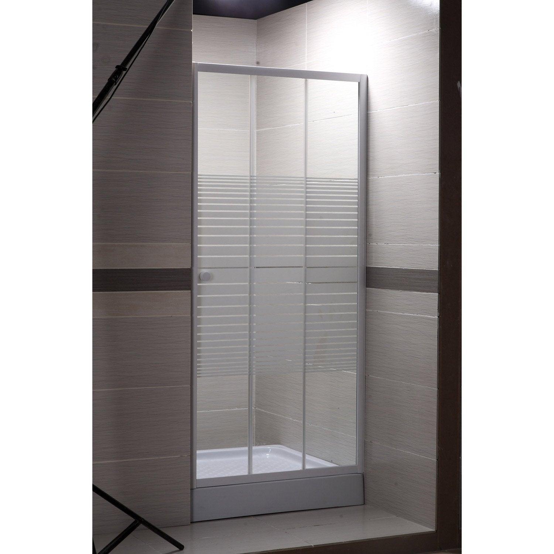Porte de douche coulissante 100 cm, sérigraphié, Primo | Leroy Merlin