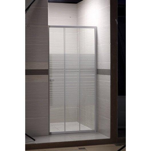 Porte de douche coulissante 88/91.5 cm profilé blanc, Primo | Leroy