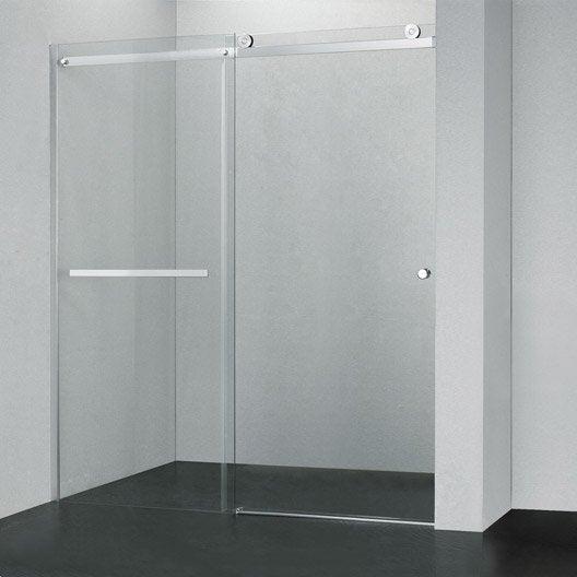 Porte de douche coulissante 117 120 cm profil chrom fabrik leroy merlin - Paroie de douche coulissante ...