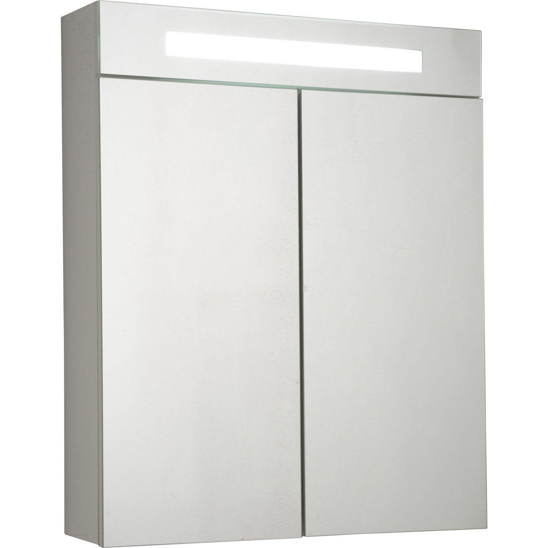 Armoire de toilette lumineuse l.60 cm, blanc, Telio   Leroy Merlin