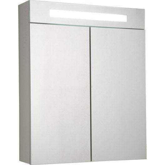 armoire de toilette lumineuse telio sensea 60x75x15 cm leroy merlin. Black Bedroom Furniture Sets. Home Design Ideas