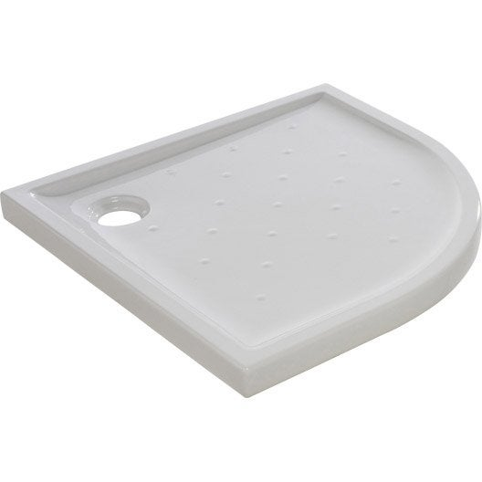 Receveur de douche 1 4 de cercle x cm gr s blanc asca2 leroy merlin - Receveur de douche en gres ...