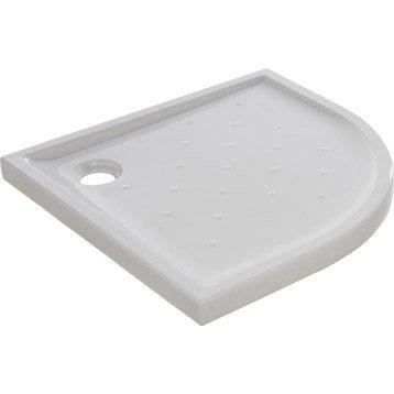 Receveur de douche 1/4 de cercle l.90 x l.90 cm, grès blanc Asca2
